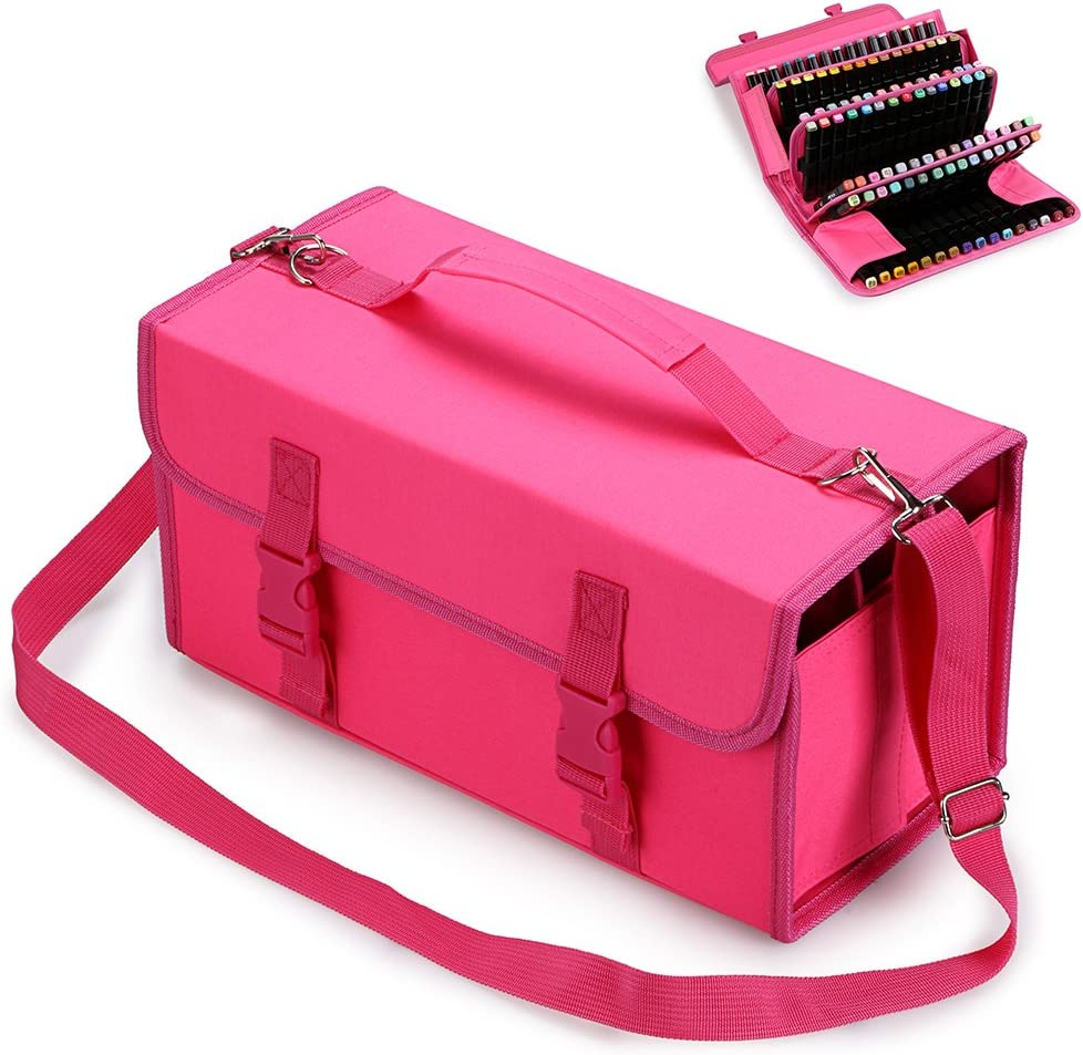 BTSKY New 120 Slots Marker Case Lipstick Organizer-Canvas Markers Holder for for Primascolor Markers and Copic Sketch Markers (Pink)