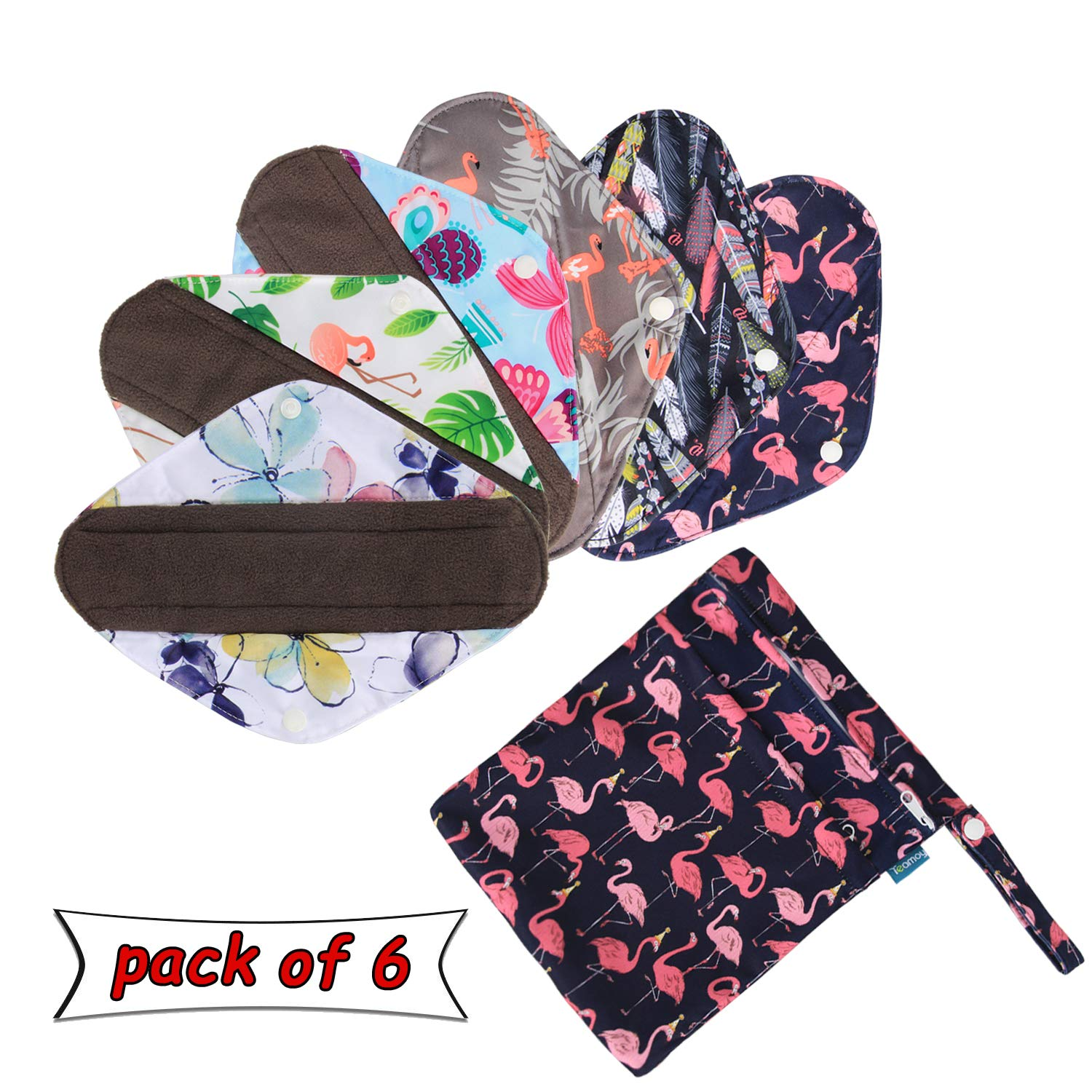 6Pcs Reusable Sanitary Pads with Extra Wet Bag, Washable Cloth Menstrual Pads/Panty Liners, Perfect for Heavy Flow by Teamoy(Extra Large-35.5cm/14 inches)