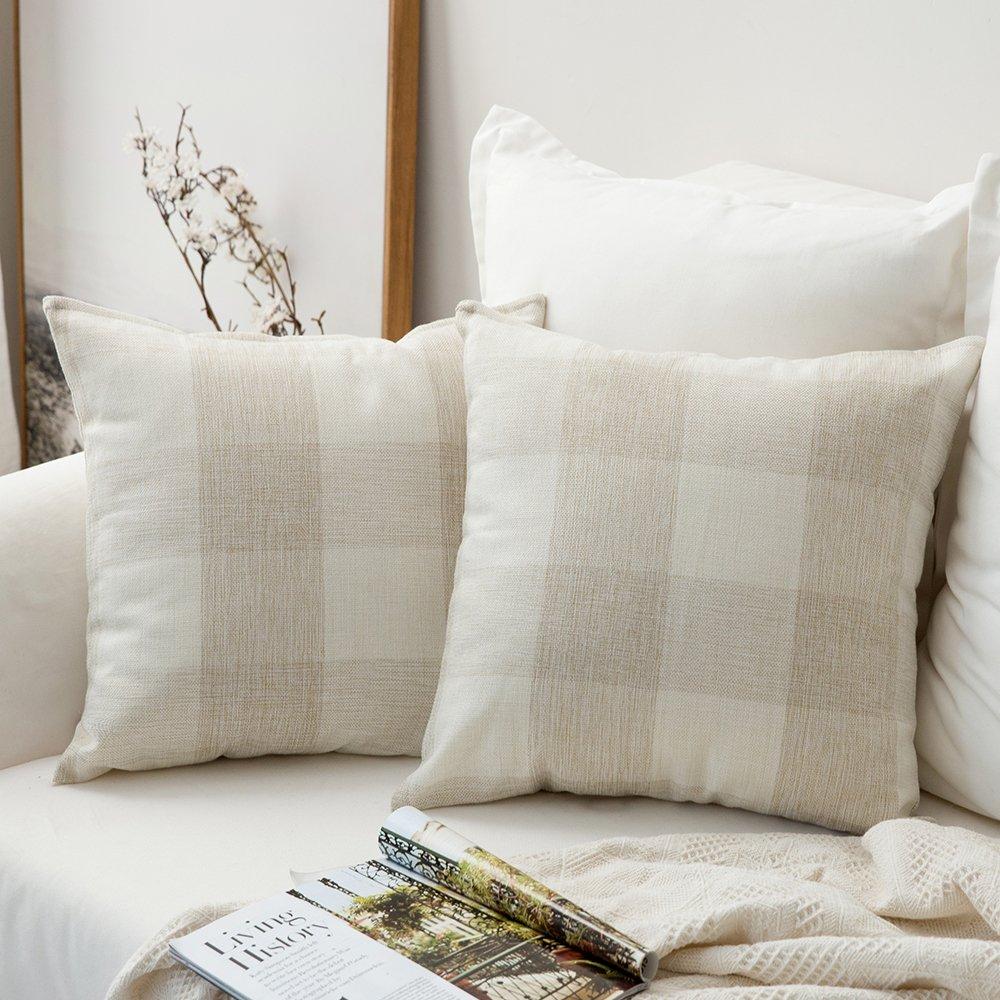 MIULEE Pack of 2 Classic Retro Checkers Plaids Cotton Linen Soft Soild Christmas Decorative Square Throw Pillow Covers Home Decor Design Set Cushion Case for Sofa Bedroom Car 18x18 Inch 45x45 cm