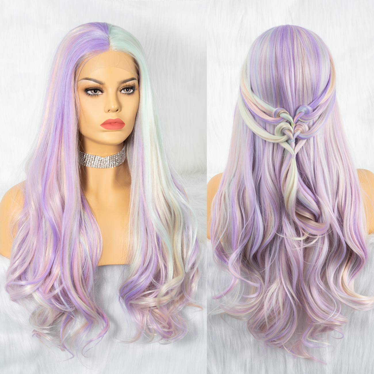 Cosswigs Pastel Wigs for Women Mix 5 Color Light Green Purple Rainbow Synthetic Lace Front Wig Middle Parting Long Wavy Lace Wigs 24inches by Cosswigs