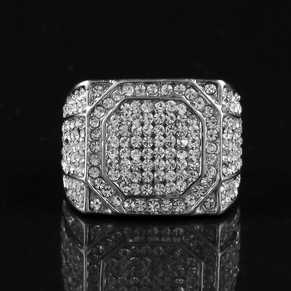 HongBoom Hot Hip Hop Rings 18K Gold Plated CZ CRYSTAL Fully Iced-Out Shine Ring (Silver/US size 12) by HongBoom (Image #4)