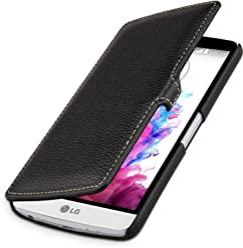 StilGut UltraSlim Case, custodia a libro con chiusura clip in vera pelle per LG G3 Stylus, nero