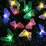 リーダーテク ソーラー 防雨型 カラー 蝶々 電飾 イルミネーション LED 3.8m 12球 2点滅モード クリスマス ライト 新年 飾り付け