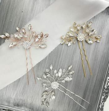 Amazon Com Aegenacess 2pcs Wedding Hair Pins Rhinestones