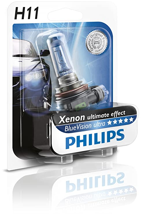 Philips H11 Blue Vision Ultra Automotive Headlight. 12v 55w. 12362bvu.
