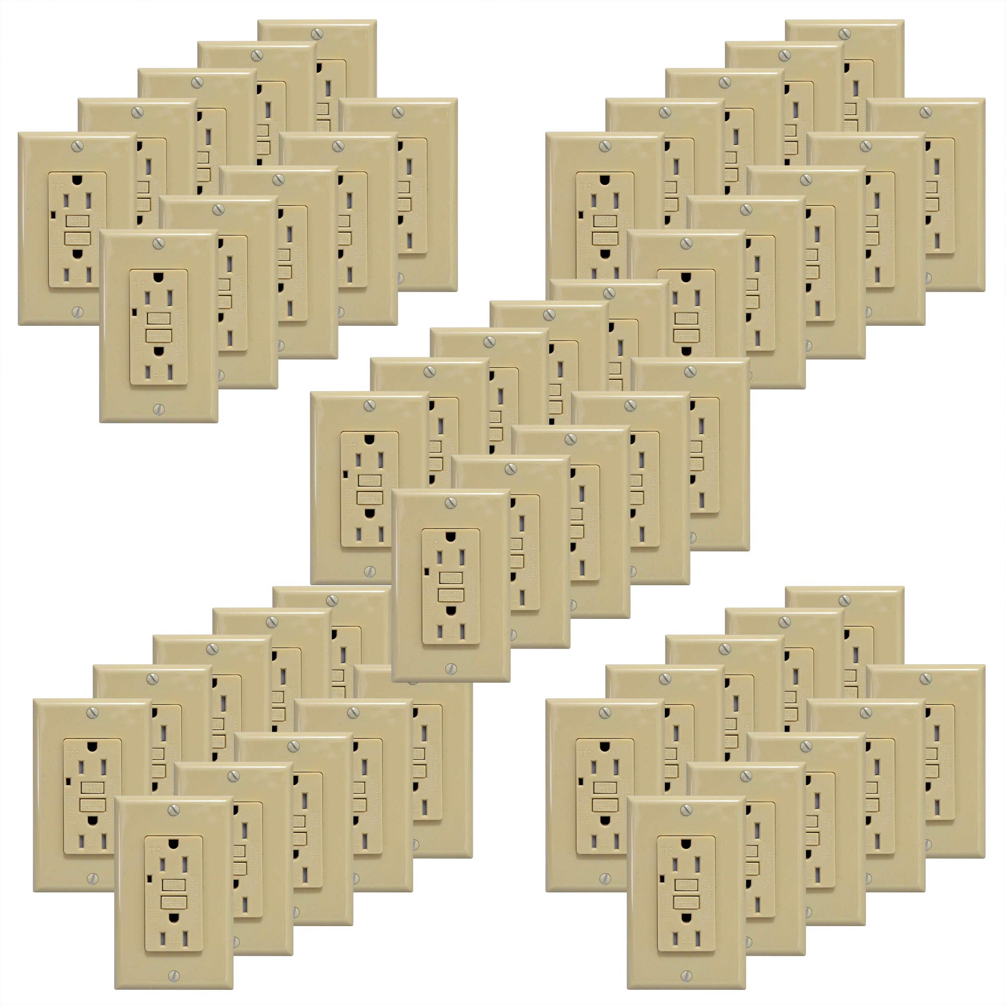 GFCI 15A Tamper Resistant Duplex Receptacle Standard Decorative Outlet with LED Indicator, Ground Fault Circuit Interrupter, Decorative Wallplate, Safelock Protection, UL Listed, Ivory (50-Pack)