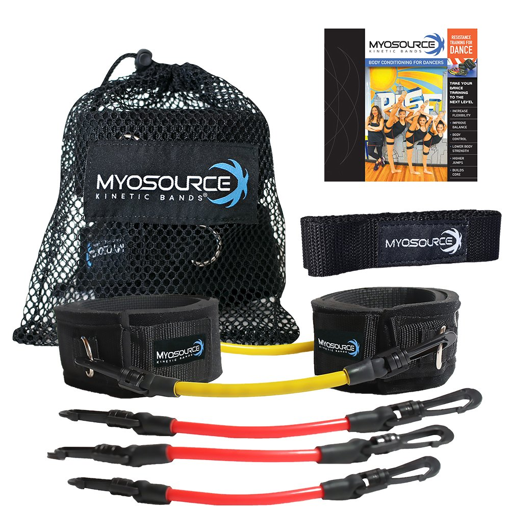 Kinetic Bands for Dance Combo Leg Resistance Bands Training Flexibility Strength Endurance (Yellow, Red, Under 110 lbs) Myosource Kinetic Bands