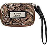 """Brown Quilted Paisley All-in-One Wristlet w/""""Faith"""" Badge - Phone Case & Wallet"""