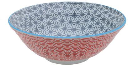 Tokyo Design Studio Starwave Noodle Bowl - Wave - Grey/Red at Amara