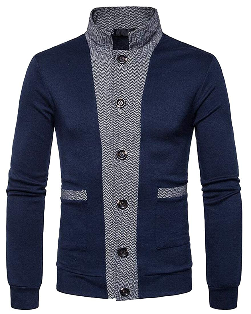 WSPLYSPJY Men's Coat Long Sleeve Knit Sweater Stand Neck Cardigan Jacket