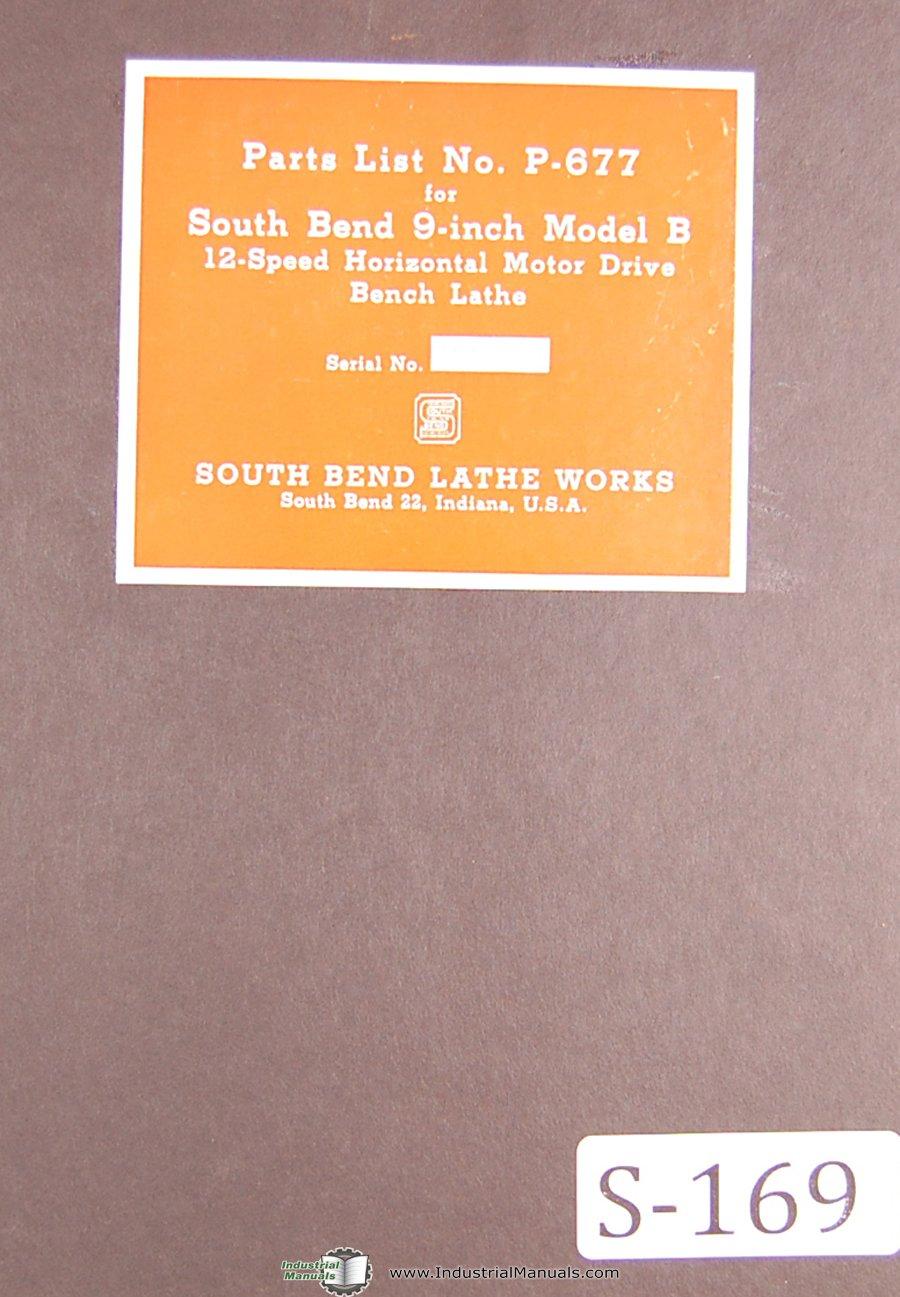 South Bend Lathe Works, 9 Inch Model B, Bench Lathe Parts
