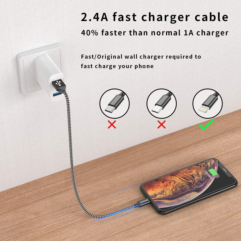 5Pack 0.25M 0.5M 1M 2M 3M GIANAC Cable Cargador iPhone Cable Lightning Carga R/ápida Nylon Trenzado Compatible con Apple iPhone 11 XS MAX XR X 8 Plus 7 Plus 6S 6 Plus 5 5S 5C SE iPad iPod