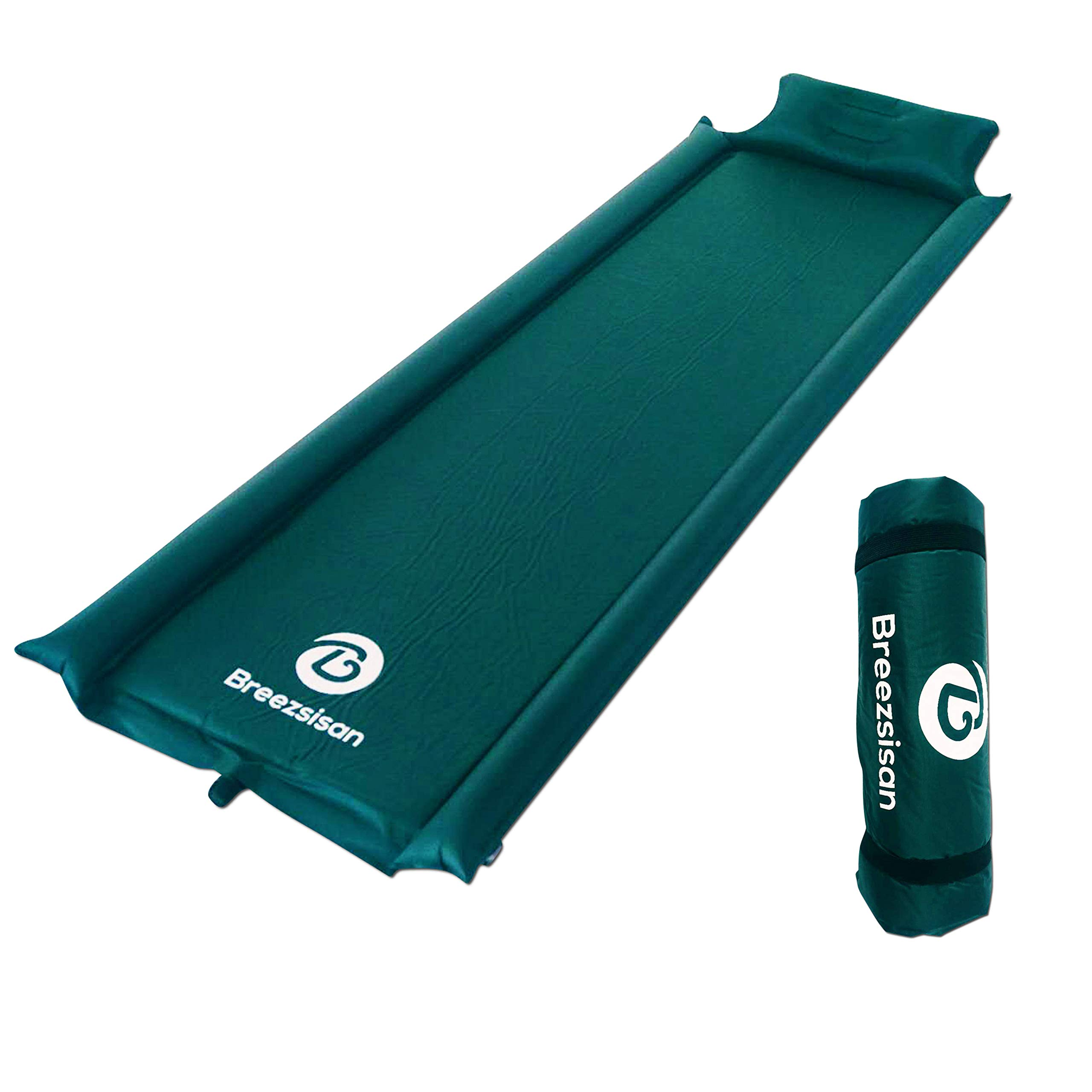 Breezsisan Camping Sleeping Pad. Self Inflating Foam Pads with Attached Pillow for: Outdoor, Backpack, Hiking, Hammock, Cot -4 Season- Youth Gift-Inflatable Queen Size Bed-Light Indoor Air Mattress by Breezsisan