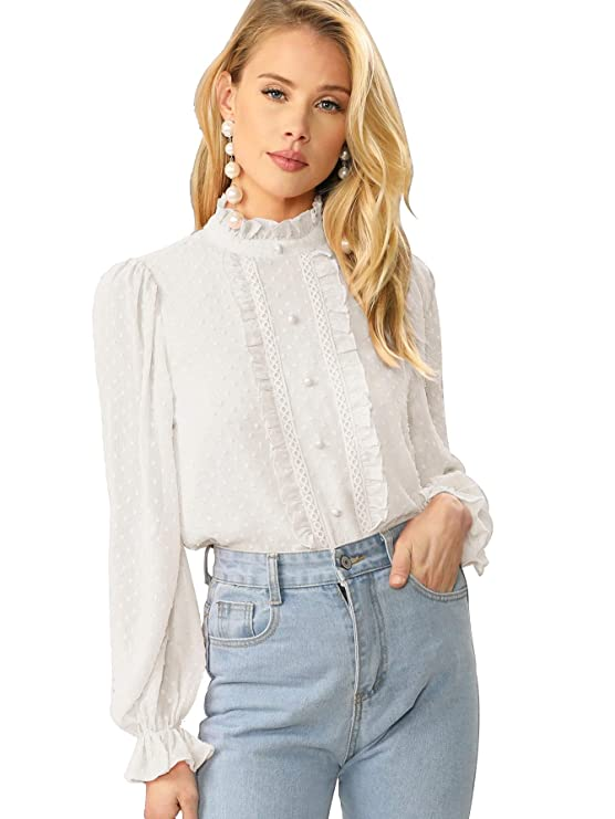 Cottagecore Clothing, Soft Aesthetic Verdusa Womens Elegant Ruffle Trim Long Sleeve Buttoned Dot Jacquard Blouse $22.99 AT vintagedancer.com