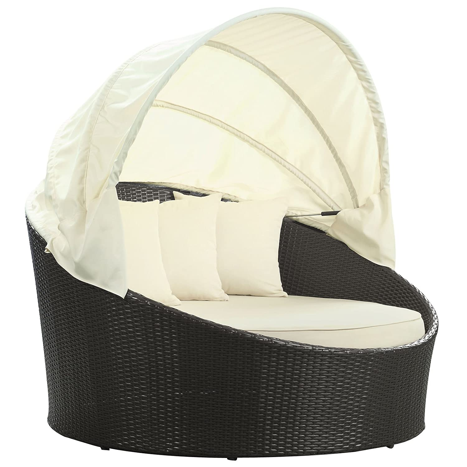 Amazon.com : Modway Siesta Outdoor Wicker Patio Canopy Bed in Espresso with  White Cushions : Patio Furniture Cushions : Garden & Outdoor