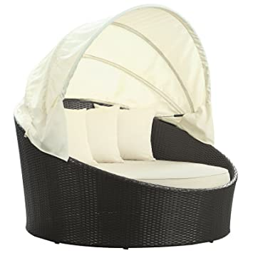 Superbe Modway Siesta Outdoor Wicker Patio Canopy Bed In Espresso With White  Cushions