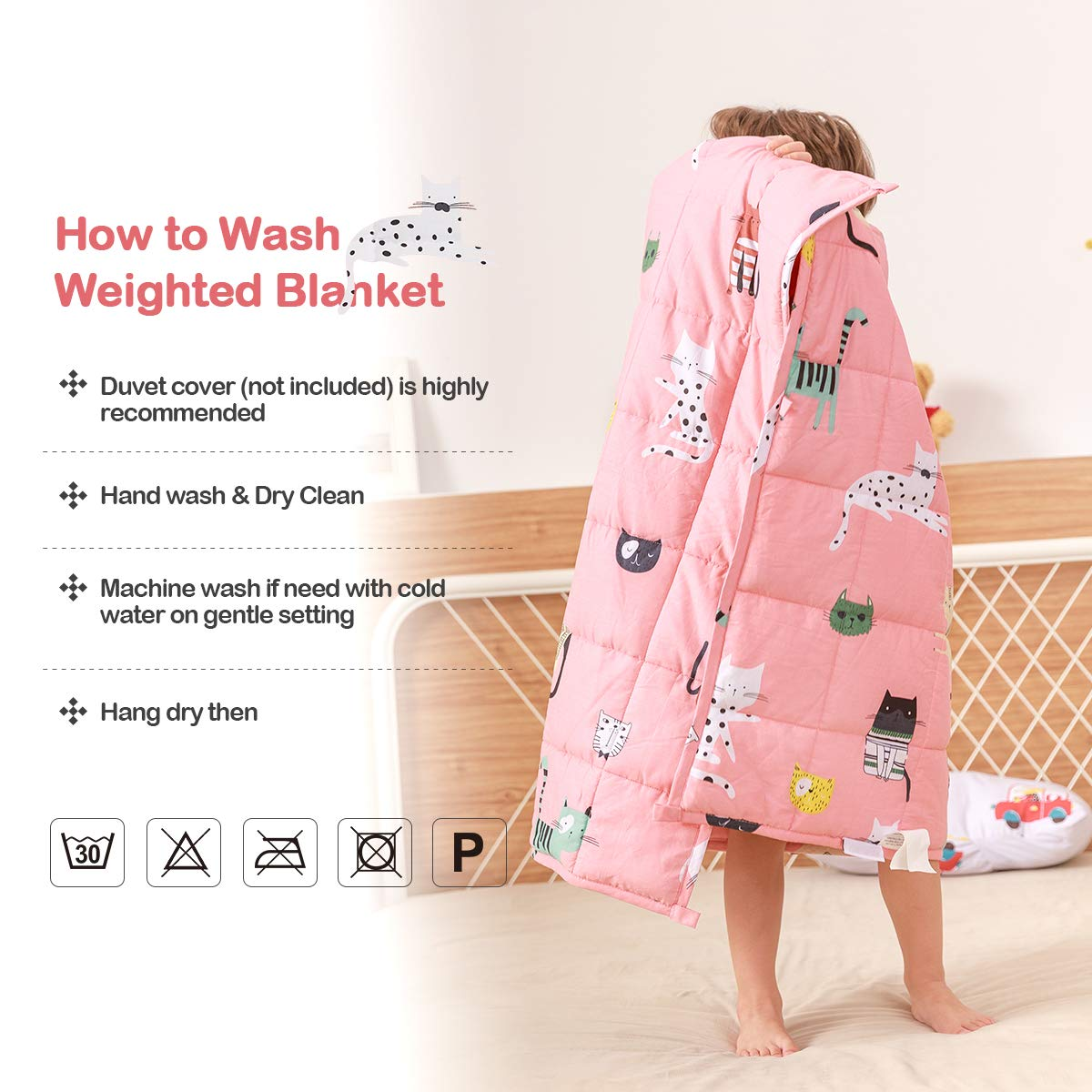 Sivio Weighted Blanket for Kids 36x48 Inches 100/% Breathable Natural Cotton, 5 lbs Heavy Blanket Pink Cat