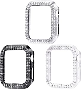 Surace 38mm Case Compatible with Apple Watch Case, Bling Frame Protective Case Compatible for iWatch Series 3/2/1 (3 Packs, Black/Silver/Clear-38mm