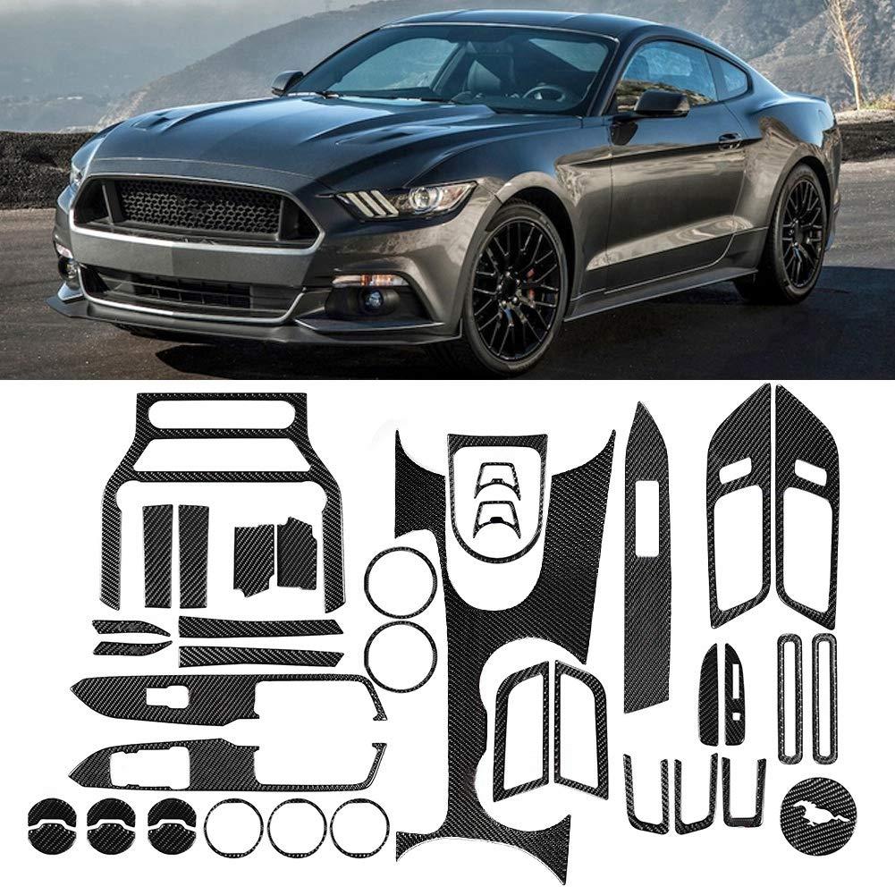 Ajuste de la consola central juego de adornos del panel de decoraci/ón del cambio de marchas de la consola central de fibra de carbono para Mustang 2015-2017 volante a la izquierda