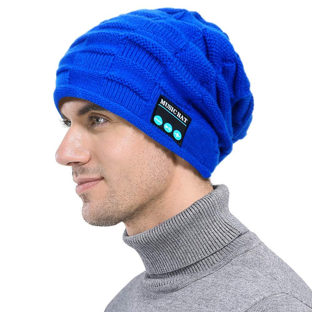 PASATO New Winter Unisex Bluetooth Wireless Smart Beanie Keep Warm Windproof Hat Handsfree Music Speaker (Blue,Free Size) by PASATO Hat (Image #2)