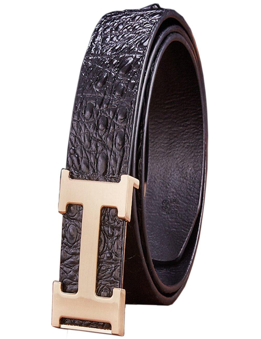 Menschwear Men's Geniune Leather Adjustable Belt with Slide Metal Buckle 38mm Black