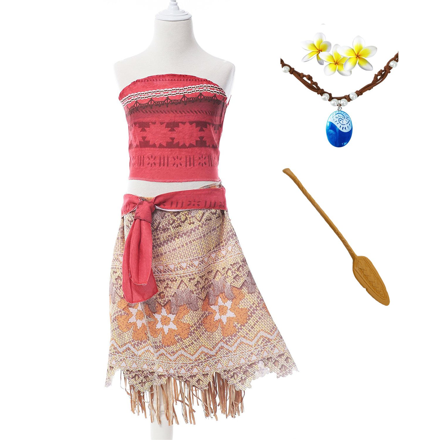 Moana Girls Adventure Outfit Cosplay Costume Skirt Set with Necklace&flower (4.27FT)