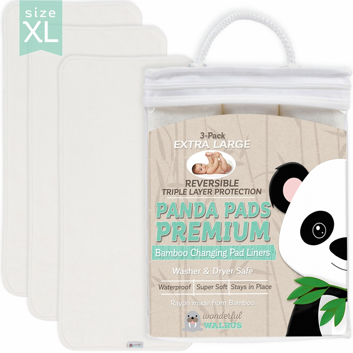 Changing Pad Liners BAMBOO REVERSIBLE 3-PACK - Softer, Thicker, No Stain 3 layer Design. Panda Pads - A Waterproof Mat to cover your Diaper Changing Table, Changing Pad or Mattress Pad. Great Gift! Wonderful Walrus WWPPP01