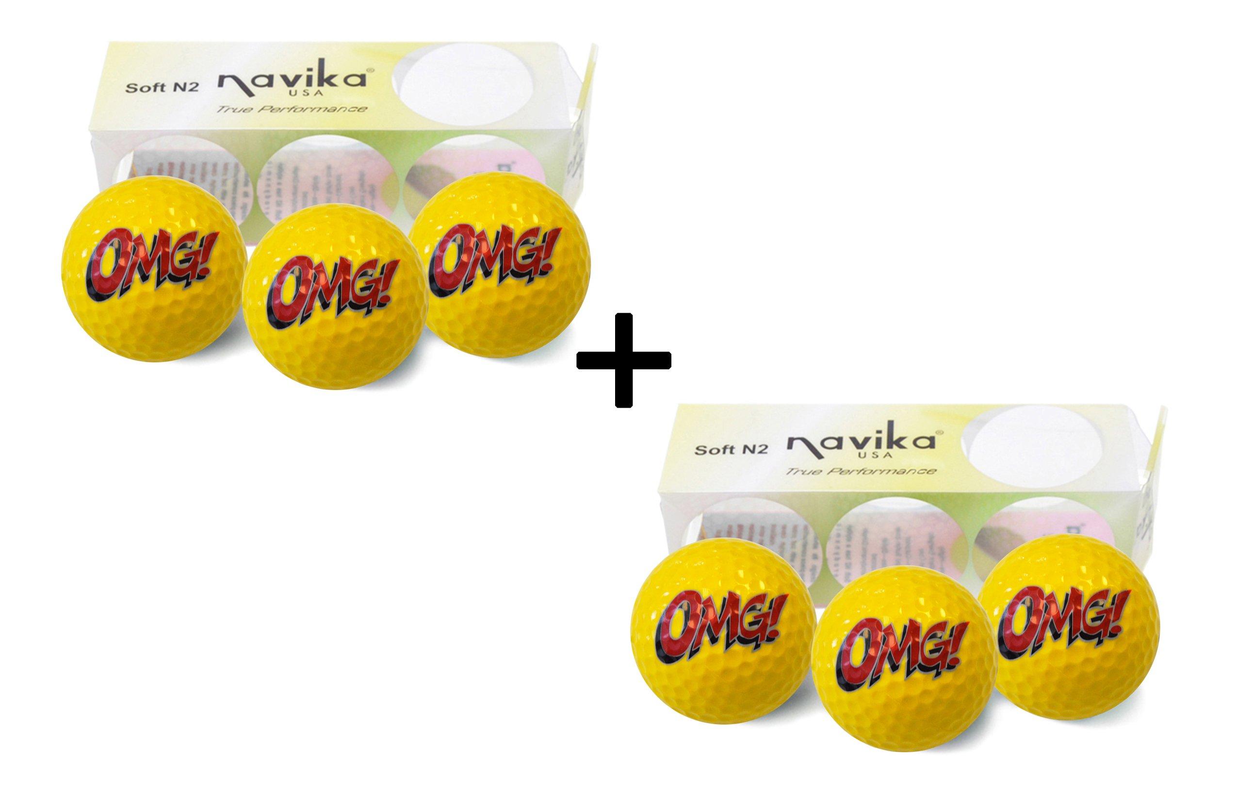 Navika OMG! Golf Balls Emoji Imprint (2 Pack) -Yellow