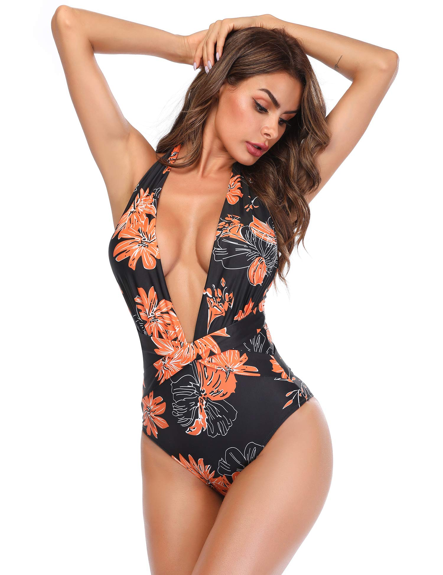 Vibesicily V Neck One Piece Swimsuit, Sexy Halter High Waisted Swimsuit Criss Cross Monokini Bathing Suits for Women