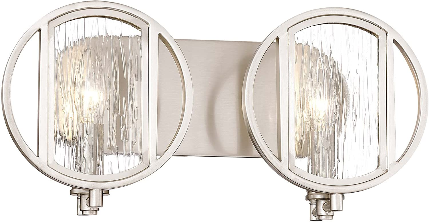 Minka Lavery Wall Light Fixtures 3062-84 Via Capri Bath Vanity Lighting, 2-Light 120 Watts, Brushed Nickel