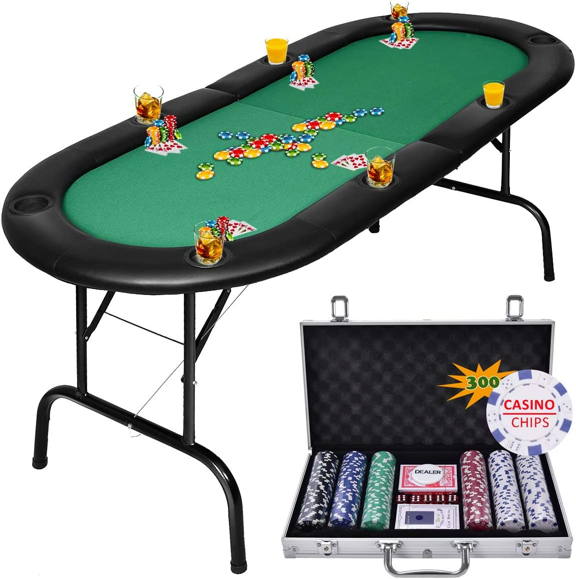 Giantex Folding Play Poker Table w/Cup Holder, for Texas Casino Leisure  Game Room, Foldable Blackjack Table (9 Player (Poker Table))