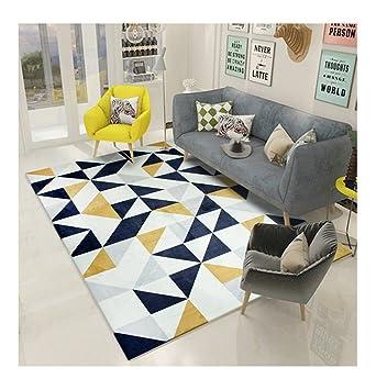 Nordic Teppiche/Teppich Wohnzimmer Sofa Couchtisch Rechteckig Geometrisch  Muster Teppich (Farbe: dunkelblau) (größe : 140 * 200cm)