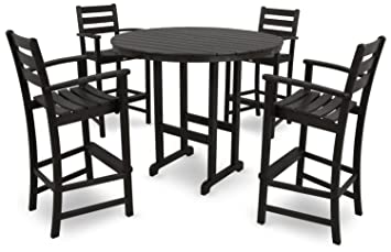 Trex Outdoor Furniture Monterey Bay Bar Side Chair Charcoal Black
