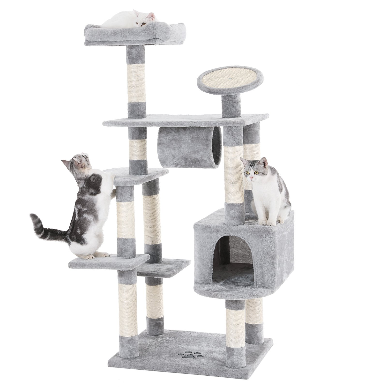 SONGMICS 62'' Large Cat Tree Condo Multi-level Cat Tower with Scratching Post Pad Kitten House Light Grey UPCT16H