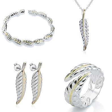 énorme réduction 1553f d66c2 Elegance Parisienne Parure de bijoux plume | Argent 925 plaqué | Collier  Bague Bracelet Boucles d'oreilles | pour femme filles porte-bonheur