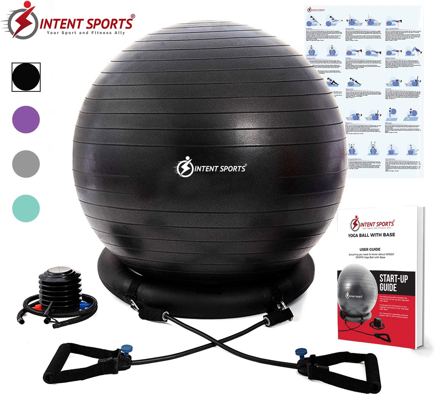 INTENT SPORTS Yoga Ball Chair – Stability Ball with Inflatable Stability Base & Resistance Bands, Fitness Ball for Home Gym, Office, Improves Back Pain, Core, Posture & Balance (65 cm)