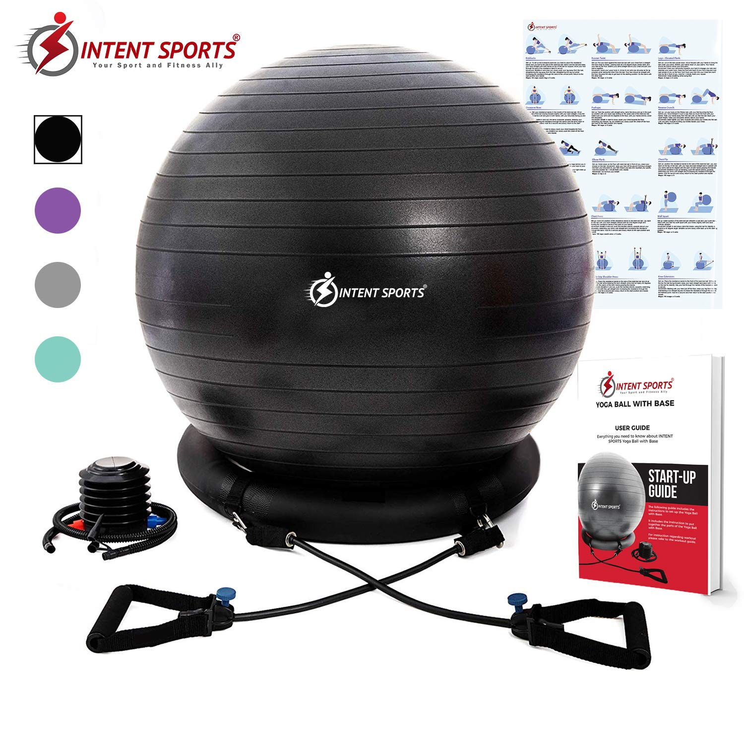 INTENT SPORTS Yoga Ball Chair Stability Ball with Inflatable Stability Base Resistance Bands, Fitness Ball for Home Gym, Office, Improves Back Pain, Core, Posture Balance 65 cm