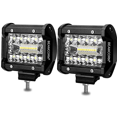 Led Light Bar 4 Inch BEAMCORN Led Pods 120W 12000Lm Waterproof Cube Spot Flood Combo Off Road Lights Driving Backup Lights for Trucks Jeep RZR ATV UTE UTV: Automotive
