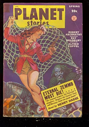 PLANET STORIES PULP-SPG '49-FICTION HOUSE-RAY BRADBURY FN at
