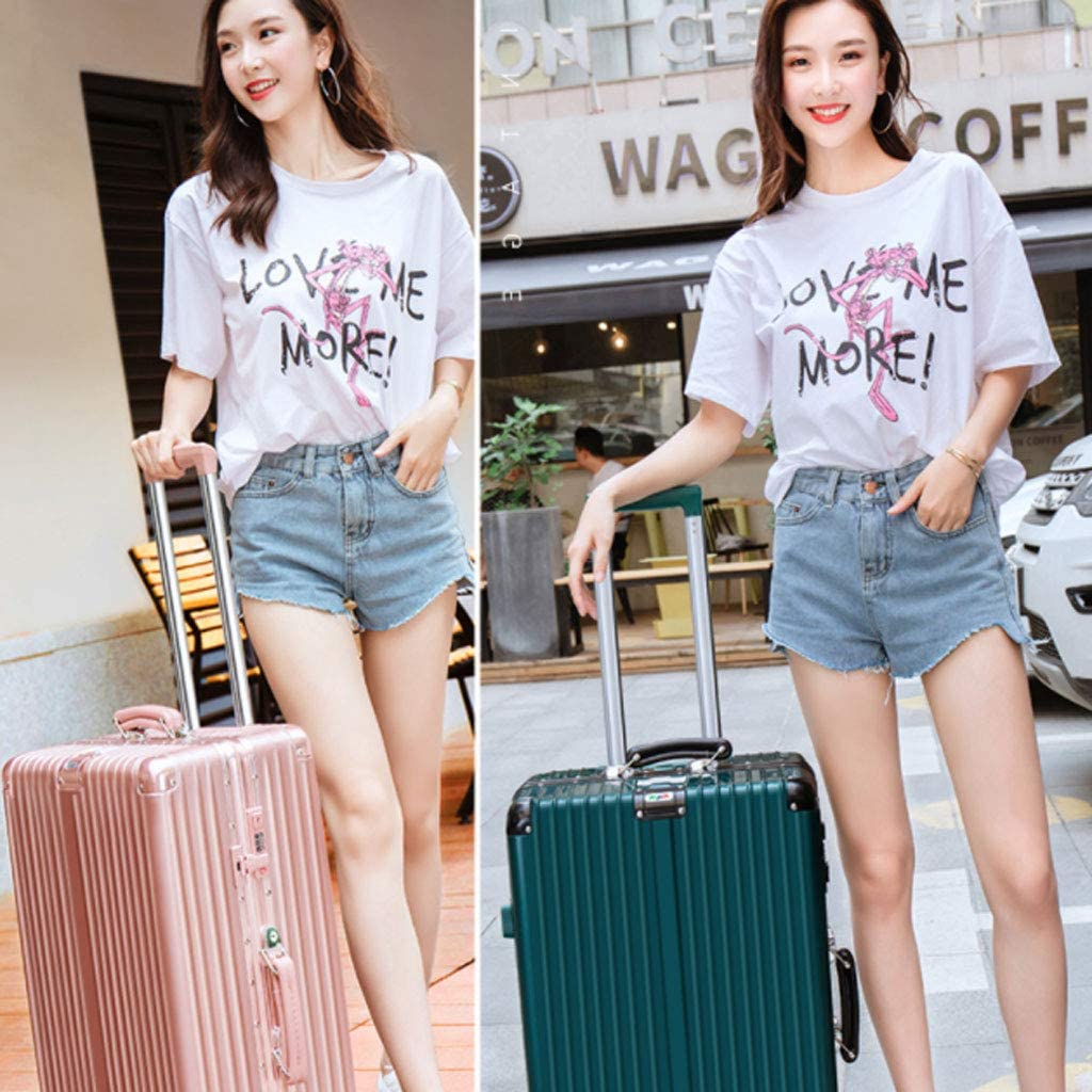 20//22//24//26 Inch White Color : Black, Size : 20 inches HUANGDA Aluminum Frame Retro Style Password Suitcase,Spinner Wheels Trolley Case
