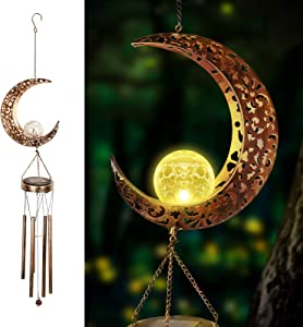 FIREOR Solar Wind Chimes for Outside Deep Tone, Sympathy and Memorial Gift Warm LED Light Hollow Moon Crackle Glass Ball with Metal Tubes Hanging Outdoor Decor Waterproof for Garden Yard Patio Lawn
