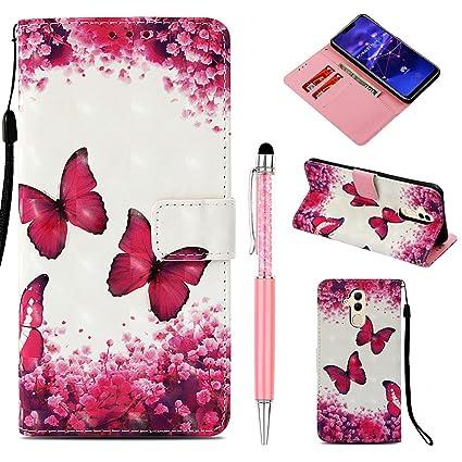 JAWSEU Custodia Huawei Mate 20 Lite,Cover Huawei Mate 20 Lite Pelle Portafoglio,Wallet Pouch 3D Colorato Creativo Leather Flip Telefono Custodia Magnetica Supporto Case Cover,Floreale