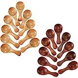 Kundi 20 Pieces Small Wooden Spoons Mini Condiments Masala Spoon Sugar Seasoning Salt Honey Teaspoon Coffee Tea Jam Mustard Ice Cream Wood Spoons Patti Spoon Multipurpose Mini Spoon