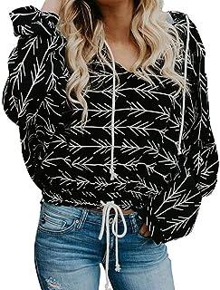 Donna Casual New Print Long Sleeve Hoodie Felpa Pullover con Cappuccio Pullover Top Camicetta S-XL