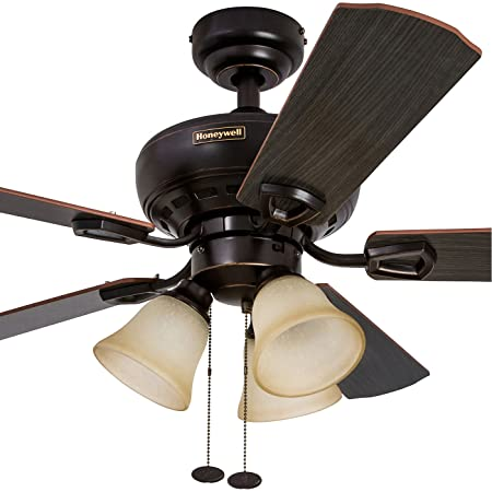 Amazon honeywell springhill 44 inch ceiling fan with 3 sunset amazon honeywell springhill 44 inch ceiling fan with 3 sunset shade lights five reversible cimarronironwood blades oil rubbed bronze home aloadofball Gallery