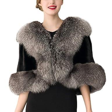 Battercake Abrigo Mujer Invierno Elegante Capa Piel Sintética Moda Boda Casuales Mujeres Chaqueta Outerwear Outwear Termica: Amazon.es: Ropa y accesorios