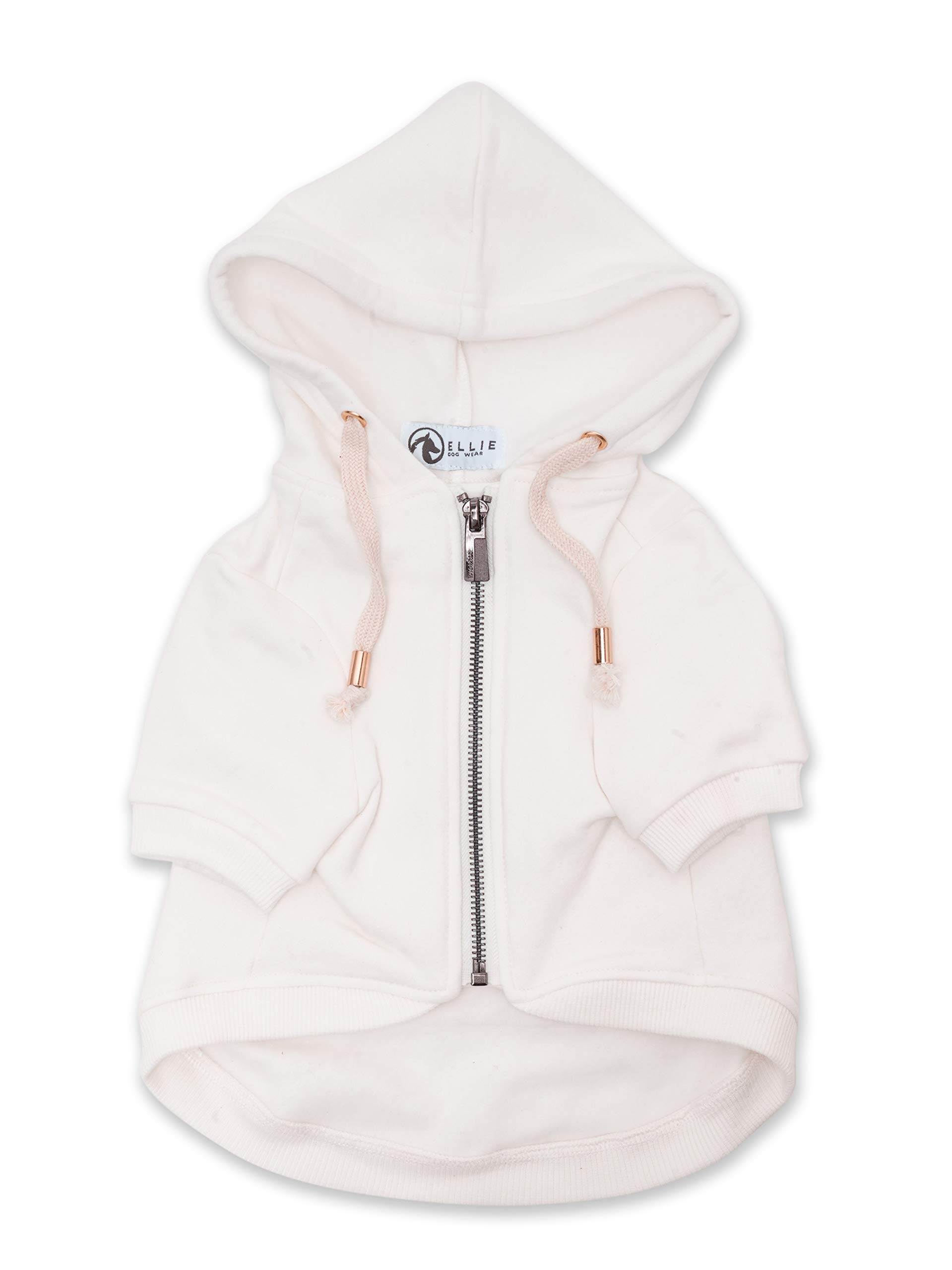 Ellie Dog Wear Adventure Zip Up White Dog Hoodie & Gold Accents with Hook & Loop Pockets and Adjustable Drawstring Hood - XXS to XXL Available - Comfortable & Versatile Dog Hoodies (M)