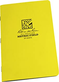 "product image for Rite In The Rain Weatherproof Stapled Notebook, 4 5/8"" x 7"", Yellow Cover, Metric Field Pattern, 3 Pack (No. 361FX)"