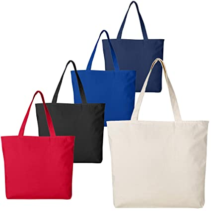 18635e1d49 Large Durable Canvas Blank Tote Bags Bulk - Grocery Canvas Bags with Zipper