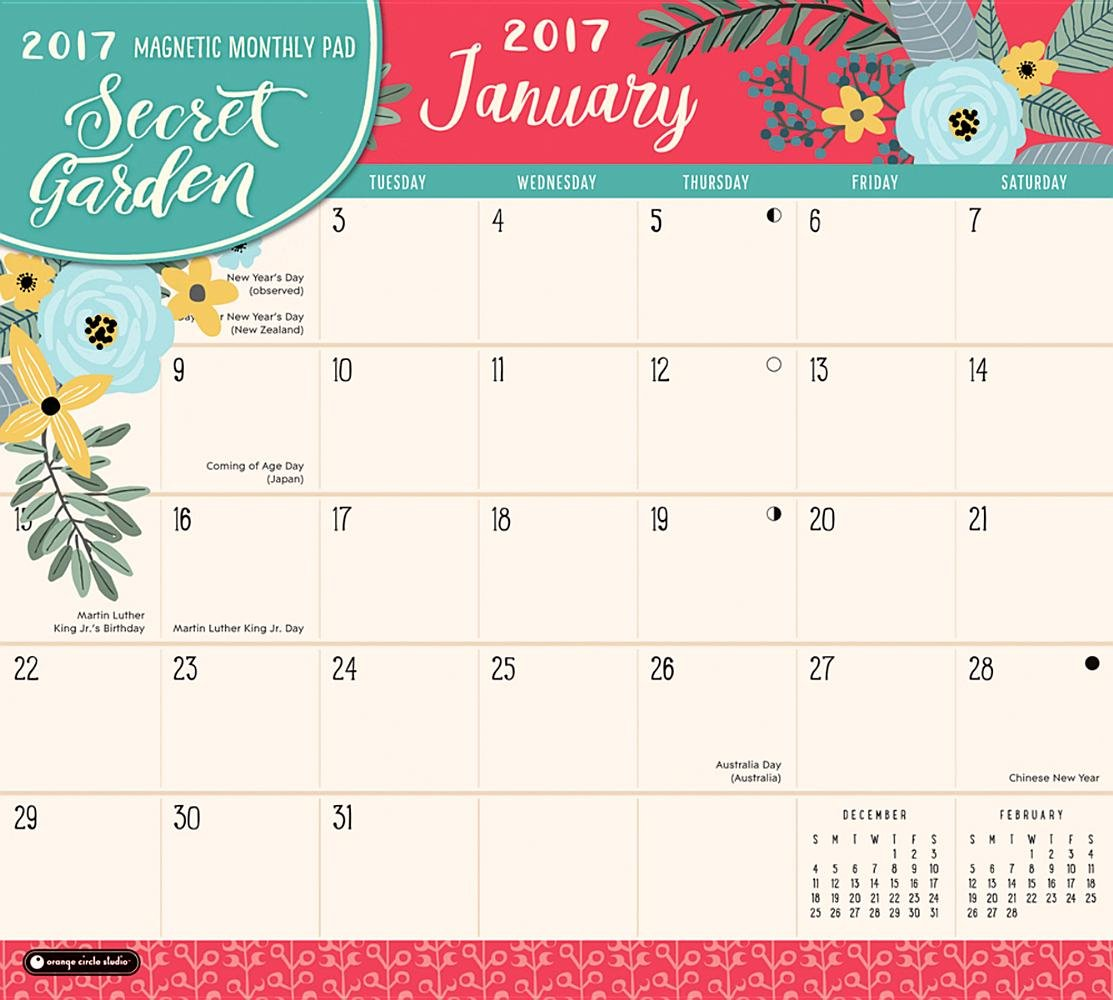 orange circle studio 2017 magnetic monthly calendar pad secret